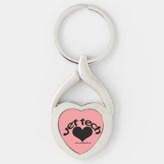 vet tech heart drop keychain Silver-Colored twisted heart key ring