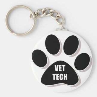 vet tech keychain paw black