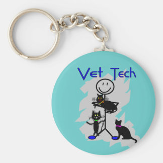 Vet Tech Stick Person With Black Cats Key Ring