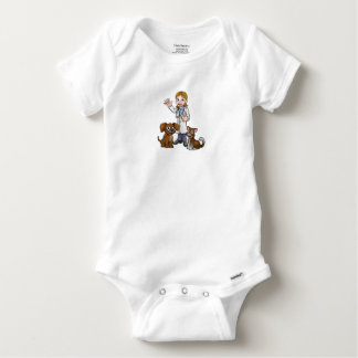 Vet with Pet Cat and Dog Cartoon Characters Baby Onesie