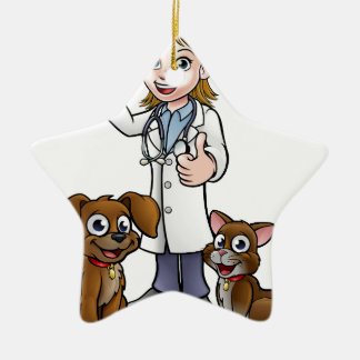 Vet with Pet Cat and Dog Cartoon Characters Ceramic Ornament