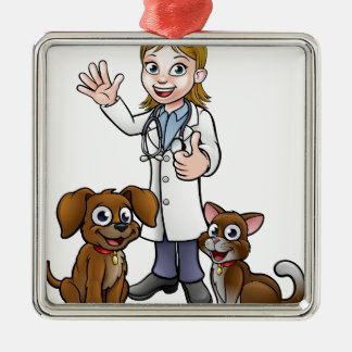 Vet with Pet Cat and Dog Cartoon Characters Metal Ornament