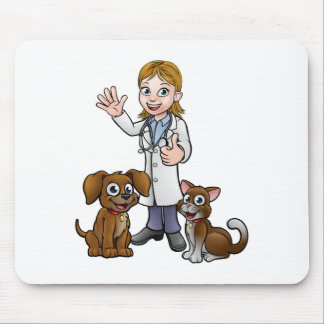 Vet with Pet Cat and Dog Cartoon Characters Mouse Pad