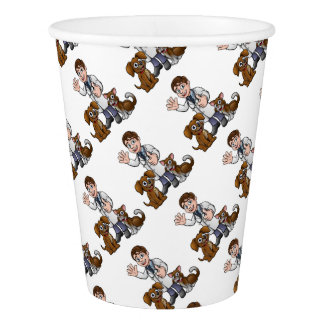 Vet with Pet Cat and Dog Cartoon Characters Paper Cup