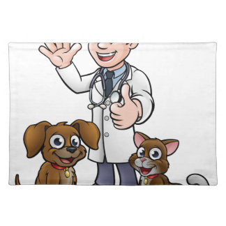 Vet with Pet Cat and Dog Cartoon Characters Placemat