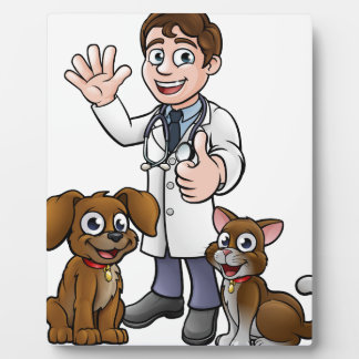 Vet with Pet Cat and Dog Cartoon Characters Plaque
