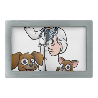 Vet with Pet Cat and Dog Cartoon Characters Rectangular Belt Buckle