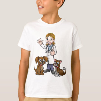 Vet with Pet Cat and Dog Cartoon Characters T-Shirt