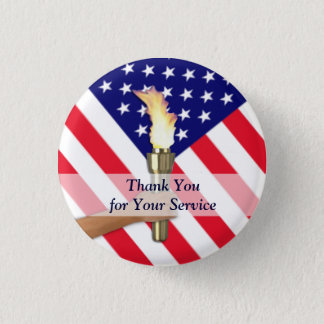 Veteran and Active Duty Military Thank You 3 Cm Round Badge