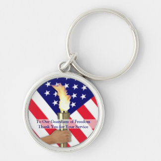 Veteran and Active Duty Military Thanks-Round Silver-Colored Round Key Ring