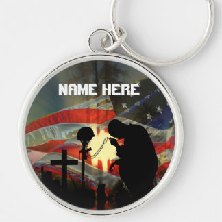 Veteran Memorial  Remembrance Silver-Colored Round Key Ring