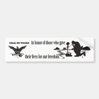 Veteran Memorial Vale of Tears Remembrance Bumper Sticker