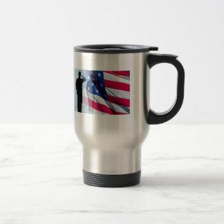 Veteran Salutes the Flag Patriotic Military Stainless Steel Travel Mug