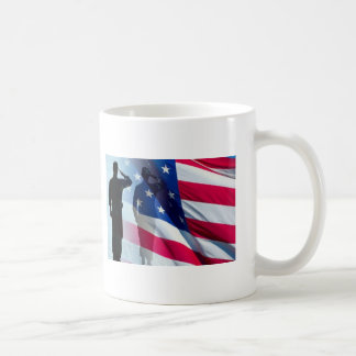 Veteran  Salutes the Flag Patriotic Basic White Mug