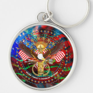 Veteran  View About Design Silver-Colored Round Key Ring