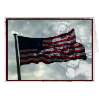 Veterans Day,  American Flag and WWII Veteran Greeting Card
