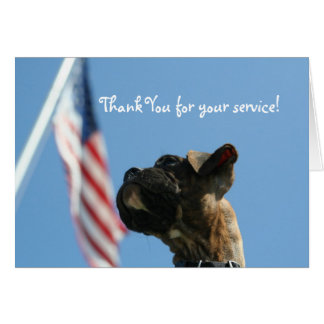 Veterans Day Boxer puppy greeting card