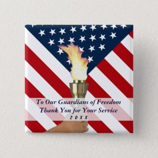Veterans Day or Memorial Day Military Thank You 15 Cm Square Badge