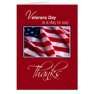 Veterans Day Patriotic American Flag Thanks in Red Greeting Card