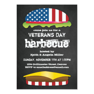 Veterans Day Patriotic BBQ Burger Card