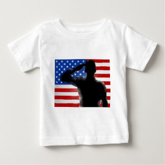 Veterans Day Silhouette Soldier Saluting Baby T-Shirt