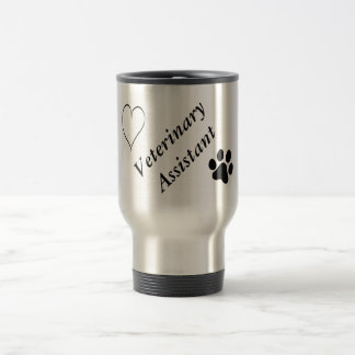 Veterinary Assistant-Black Paw Print and Heart Travel Mug