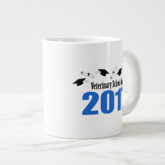 Veterinary Grad 2017 Caps And Diplomas (Blue) Giant Coffee Mug