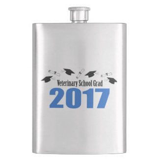 Veterinary Grad 2017 Caps And Diplomas (Blue) Hip Flask