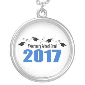 Veterinary Grad 2017 Caps And Diplomas (Blue) Silver Plated Necklace