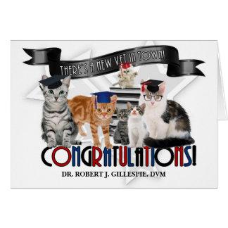 Veterinary Graduate Humorous Cats in Caps Card