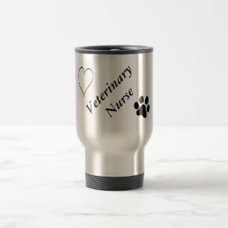 Veterinary Nurse-Black Paw Print and Heart Travel Mug