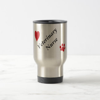 Veterinary Nurse-Red Paw Print and Heart Stainless Steel Travel Mug