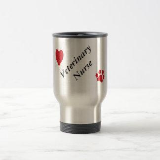 Veterinary Nurse-Red Paw Print and Heart Travel Mug