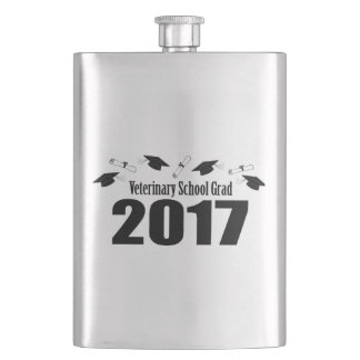 Veterinary School Grad 2017 Caps & Diplomas (Black Hip Flask