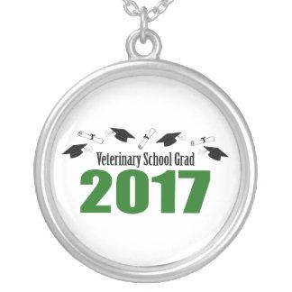 Veterinary School Grad 2017 Caps & Diplomas (Green Silver Plated Necklace