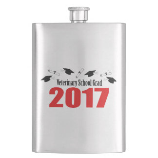 Veterinary School Grad 2017 Caps & Diplomas (Red) Hip Flask
