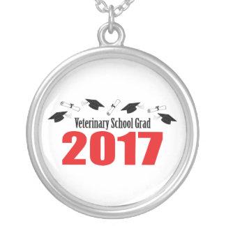 Veterinary School Grad 2017 Caps & Diplomas (Red) Silver Plated Necklace