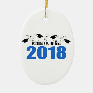 Veterinary School Grad 2018 Caps & Diplomas (Blue) Ceramic Ornament