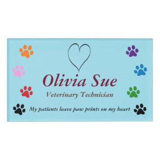 Veterinary Technician Paw Prints On My Heart #3 Name Tag