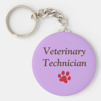 Veterinary Technician/Red Paw Print/Purple Key Ring