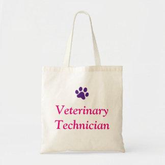Veterinary Technician with Purple Paw Print Tote Bag