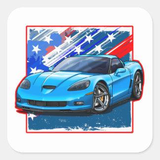 Vette_LtBlue Square Sticker