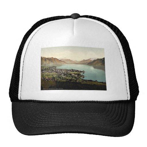 Vevey, and Dent du Midi, Geneva Lake, Switzerland Mesh Hats