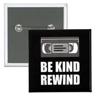 VHS Cassette Tape Be Kind Rewind White.png 15 Cm Square Badge