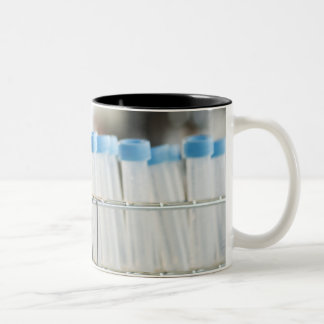 Vials in research lab Two-Tone mug