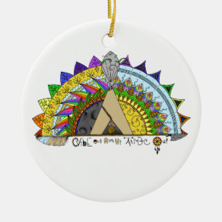 Vibe Out with my Tribe Out rainbow Ceramic Ornament