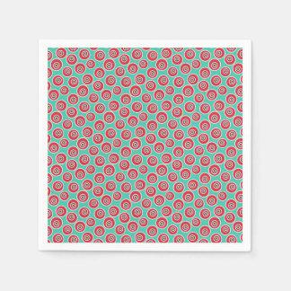 Vibrant 60's retro geometric pattern disposable serviette
