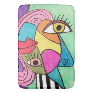 Vibrant Abstract Art Cubism Bold Lips Quirky Eyes Bath Mat