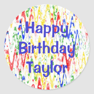 Vibrant Abstract Chevrons Birthday Party Round Sticker