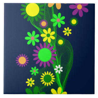 Vibrant Abstract Flowers on Navy Blue Large Square Tile